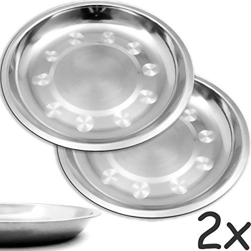 Outdoor Saxx® - 2X Edelstahl-Teller, Camping-Geschirr, Camping-Teller, Outdoor-Teller, Wandern Zelten klein leicht, Bruch-sicher, 21cm, 2er Set