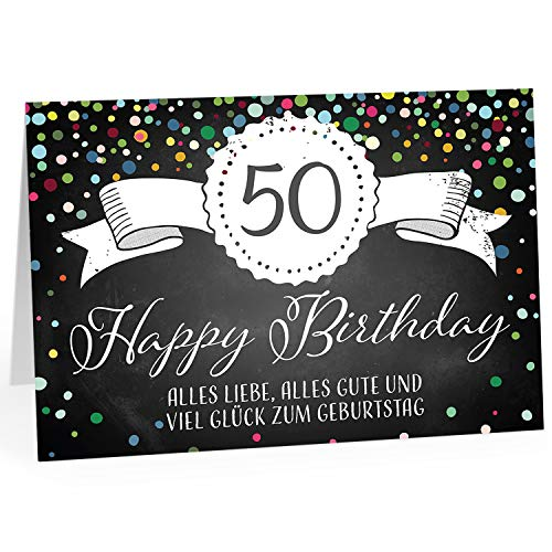 Große Glückwunschkarte XXL (A4) zum 50. Geburtstag - Tafel-Look Konfetti/mit Umschlag/Edle Design Klappkarte/Glückwunsch/Happy Birthday Geburtstagskarte/Extra Groß/Edle Maxi Gruß-Karte