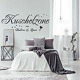 Wandtattoo Wandaufkleber AA228 Schlafzimmer Kuschelzone mit zwei Namen nach Wunsch