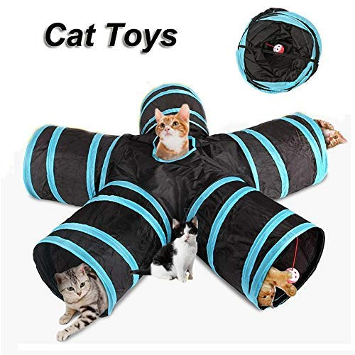 EUYOUZI Collapsible Cat Tunnel, Cat Tunnel 5-Way Design Interactive Cat Toy Maze - Provides Hours of Mental Stimulation and Physical Play - Confidence Booster & Health Enhancer-(House-Cats) (Blue) -