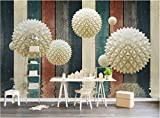 YUANLINGWEI Benutzerdefinierte Wandbild Tapete 3D Dreidimensionale Runde Ball Holzbrett Wasser Muster Muster Liveing Zimmer Wand Dekoration Wandbild Tapete,250Cm (H) X 330Cm (W)