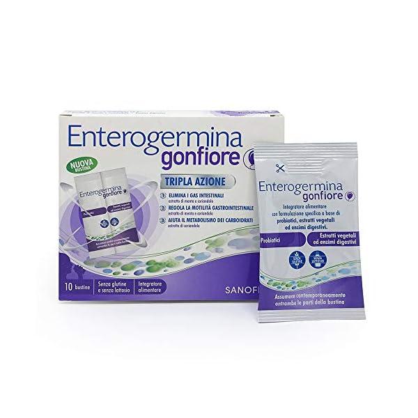 Enterogermina Gonfiore Integratore alimentare contro il gonfiore addominale, 10 bustine da 2+2 g, senza lattosio e senza… 2 spesavip