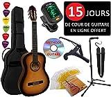 Pack Guitare Classique 4/4 (Adulte) 8 Accessoires Cour Vidéo et DVD ... (Sunburst)