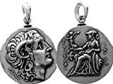 Alexander der große und Athena Coin Anhänger, Struck von Lysimachos, Drachme kleinere Version, 297-281 b.c. (# 78PEN-s) 20 mm, 6 g, (wenig größer als US-Dime 17 mm)