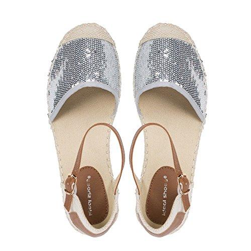 Ideal Shoes–Sandale mit Bride Pailletten dekoriert Vaite Silber - silber