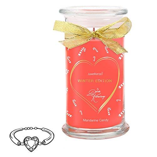JuwelKerze Mandarine Candy by Daniela Katzenberger - Duftkerze mit Schmuck-Überraschung als Geschenk für Sie (925er Sterling Silber Armband, Winter Edition)