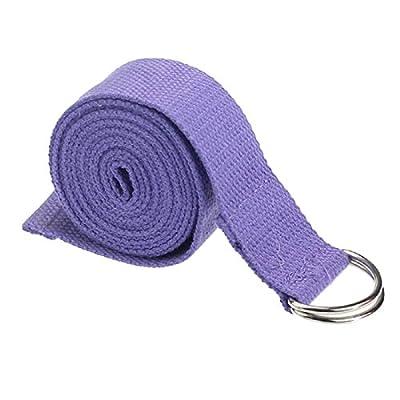 SODIAL(R) Mode Accessoire Yoga Bein Verstellbarer Hueftgurt 180 cm Fitness Training D-Ring Dehnbarer Baumwollguertel Schnalle Helllila