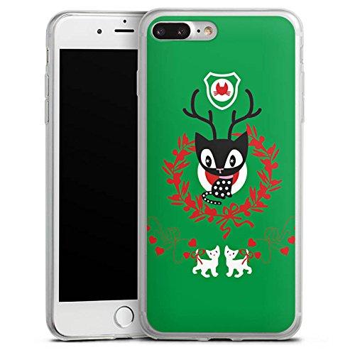 Apple iPhone X Slim Case Silikon Hülle Schutzhülle Katze Weihnachten Grün Silikon Slim Case transparent
