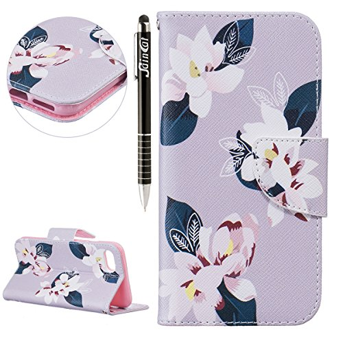 SainCat Apple iPhone 7 Custodia in Pelle,Anti-Scratch Protettiva Corpertura Caso Custodia Per iPhone 7,Elegante Creativa Dipinto Pattern Design PU Leather Flip Ultra Slim Sottile Morbida Portafoglio W Grigio Lily