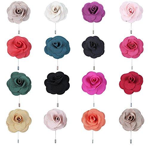 Soleebee NS001A Ansteckblumen Herren Handgefertigt Revers Pin Blume Set im Knopfloch Schläger Revers Krawatte Brosche Kamelie Boutonniere für Anzug (16 Stück)