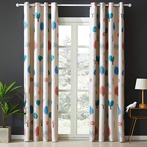 Topfinel Verdunklungsvorhänge mit Ösen Baum Mustern Blickdichte Lange Gardinen für Kinderzimmer Fenster 2er Set je 245x140cm (HxB)