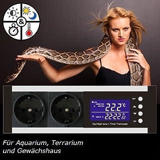 OCS.tec Digitaler Dimmer mit Timer Thermostat Thermoregler Temperaturregler Alarm Heizen/Kühlen Tag-/Nachtbetrieb Reptilien Terrarium Aquarium TMT-D100 TX3