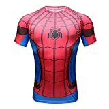 Born2RideTM Shirt im Superheld-Kostüm für Fitnessstudio/Radsport, Compression Baselayer T-Shirt mit kurzen Armen für Herren Gr. L, Spiderman Red/Blue Short Sleeve