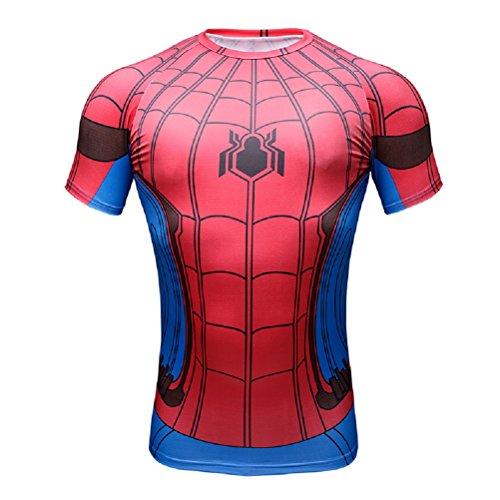 Born2RideTM Shirt im Superheld-Kostüm für Fitnessstudio/Radsport, Compression Baselayer T-Shirt mit kurzen Armen für Herren Gr. M, New Spiderman Red/Blue Short Sleeved