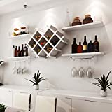 LIXIONG Wall hanging Wine rack Goblets rack Single layer / double layer Shelves Bottles Holder Display Shelves, 4 colors ( Color : 2 Layer-white )