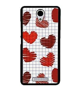 Hearts 2D Hard Polycarbonate Designer Back Case Cover for Xiaomi Redmi Note 2 :: Redmi Note 2 Prime