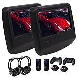 EinCar Twin Black Leather Styled Auto-DVD-CD-Player-Kopfst¡§1tze Monitor mit 9 Zoll LCD-Schirm-Noten-Keys Unterst¡§1tzung 32 Bits Spiele HDMI Eingang 2 Modi + Game Disc/Fernsteuerungs- / drahtlose
