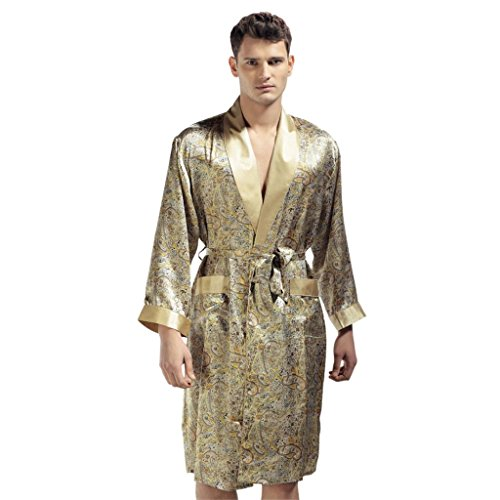 Preisvergleich Produktbild The Sleepwear Factory Forever Angel Herren 100% Seide Bademantel Bademantel Luxus Geschenk Nachtwäsche Gr. XX-Large