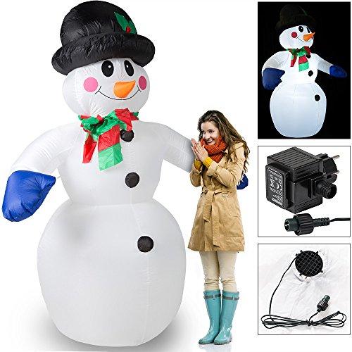 ann XXL ✔ riesige Figur 240cm ✔ selbst aufblasend ✔LED-Beleuchtung ✔ inkl. Elektropumpe ✔ Befestigungsmaterial✔ schöne Weihnachtsdekoration - Schneemann zum aufblasen Snowman (Schneemann Aufblasbar)