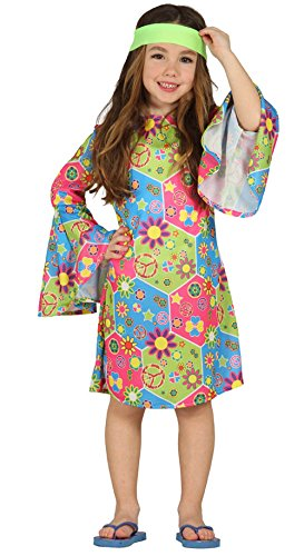 Kostüm Hippie Mädchen Annelie Kleid Kinderfasching Flower Power (7- 9 Jahre (Gr. 122- (Kostüme Mädchen 70er Jahre)