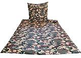 Heubergshop 2 tlg. Baumwoll Renforcé Bettwäsche 135x200cm und 80x80cm - Camouflage Tarnmuster Militär in Grün, Rot und Olive - 100% Baumwolle (200-1-B)