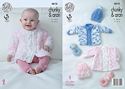 King Cole 4810 Knitting Pattern Baby Coat Sweater & Hats in Cuddles Chunky & Comfort Aran