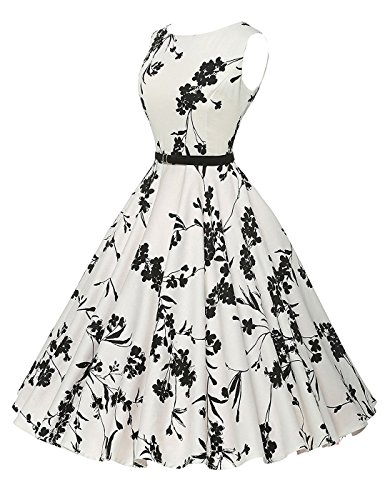VERNASSA 1950s Abiti da Donna, 50s Vestito da Swing dell'Abito di Sera di Promenade del Cotone del Cotone di Stile di Hepburn di Stile Classico,Multicolor,Formato S-4XL (S, 1260-Fiore Bianco-01)