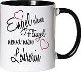 Mister Merchandise Becher Tasse Engel Ohne Flügel Nennt Man Lehrerin Kaffee Kaffeetasse liebevoll Bedruckt Beruf Job Geschenk Weiß-Schwarz