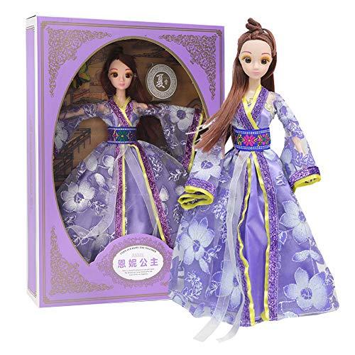 Mädchen Vier Jahreszeiten Kostüm - Zerodis Chinesische Minipuppen Antike Kostüm Vier Jahreszeiten Prinzessin Dress Up Dolls Box Set Geburtstag Mädchen Kinder(Sommer)