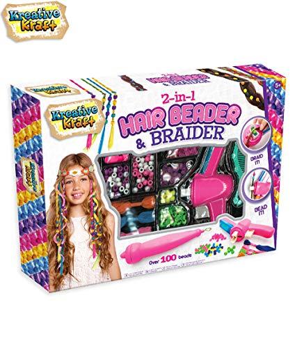 KreativeKraft Hair Twister Spielzeug Und Perlen 2 In 1 | Haare Flechten Maschine | Haare Stylen | Haarschmuck Haare Stylen Kinder | Haar Styling | Accessoires Haare Für Mädchen