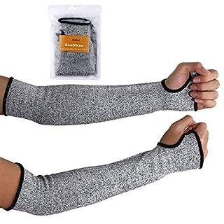 1 paire de manches anti-coupures avec trou pour le pouce- 40,6 cm - Protection de niveau 5 - Évite entailles, égratignures, griffures et irritations de la peau - Protection UV