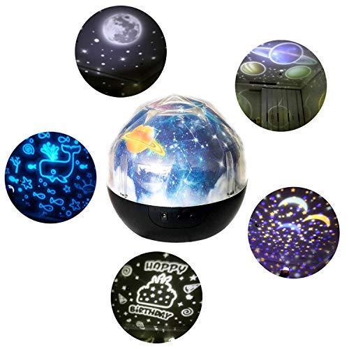 Projektor,Sternenhimmel Projektor,Mode 360 Grad Rotation Einstellbare Helligkeit LED Nachtlicht Lampe Projektor mit 5 Dias für Schlafzimmer Wohnzimmer Party Dekoration