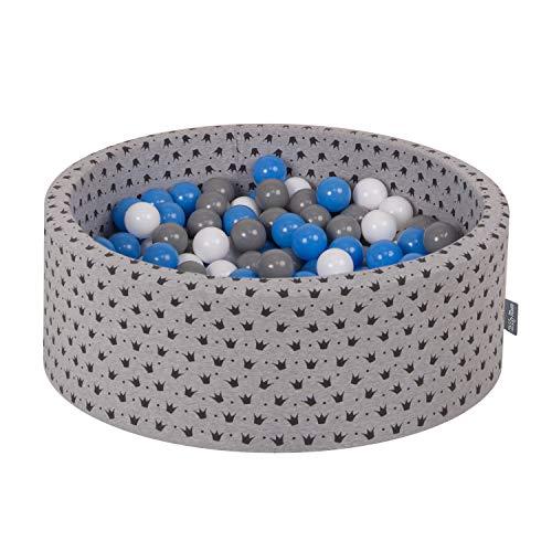 KiddyMoon 90X30cm/300 Balles ∅ 7Cm Piscine À Balles pour Bébé Rond Fabriqué en UE, Noir-Gris:Gris/Blanc/Bleu