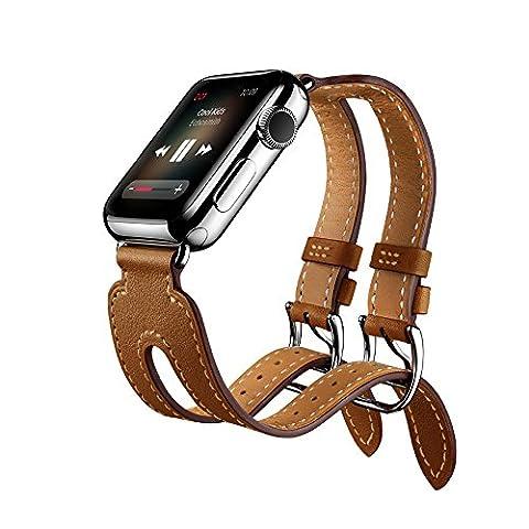 EloBeth for Apple Watch Armband Series 2 Series 1,Double Buckle Cuff Lederarmband Replacement Wrist Band Watchband Strap Watchband Uhrband Uhrenarmband Erstatzband für 42mm iWatch 2016,Braun