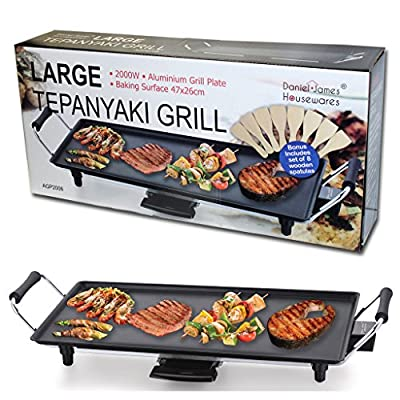 Large Teppanyaki Grill Table Electric Hot Plate Bbq Griddle Camping 2000w - inexpensive UK dining table store.