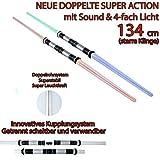 tevenger 134 cm Doppellichtschwert Doppellaserschwert Lichtschwert Feste Klinge Sound 4-Fach Lichteffekte Blau Rot Grün Dauerlicht