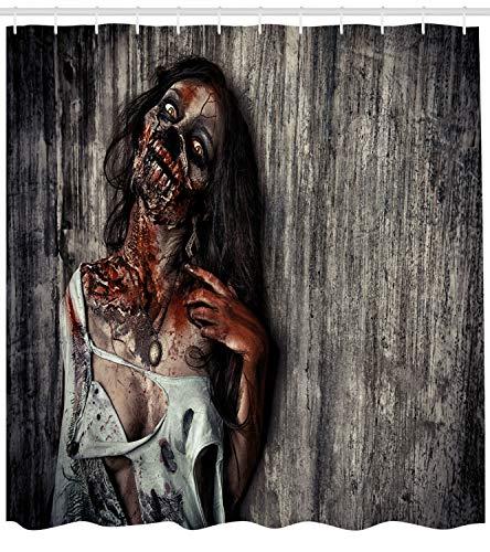 ABAKUHAUS Duschvorhang, Wütige Tote Frau Zombie Opfer Fantasy Mystisch Nacht Halloween Bild Druck Thema Druck, Blickdicht aus Stoff mit 12 Ringen Waschbar Langhaltig Hochwertig, 175 X 200 cm
