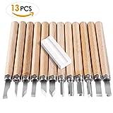 FIXKIT 13PCS Holz-Schnitzwerkzeug Set, Professional Holzschnitzerei Meißel Set mit Schleifsteine für Holz, Obst, Gemüse, Carving DIY, Skulptur und Wax