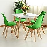 Furniture-shop Panana 4er Set Esszimmersthul mit Gepolsterter, Massivholz Bein, Retour Degsin Wohnzimmersthul, Küchenstuhl - Grün