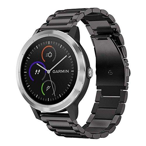 Armband für Garmin Vivoactive 3 - Fintie Edelstahl Metall Uhrenarmband Ersatzband mit Doppelt Faltschließe für Garmin Vivoactive 3 / Forerunner 645 Music / Vivomove HR Smartwatch, Schwarz