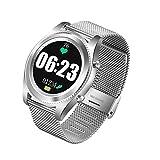 Xwly-sw Outdoor Sports Smart Watch GPS Fitness Tracker mit Herzfrequenz-Blutdruck-Monitoring Pedometer Sleep Monitoring Bluetooth 4.0 für Männer und Frauen,Silversteel