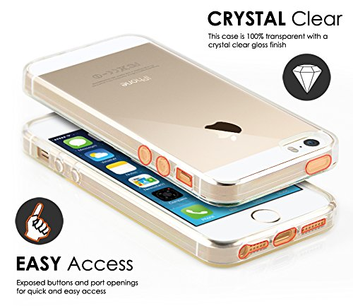 Case Buddy TM Coque de protection en gel transparente et film de protection d'écran pour iPhone 5S 5 Transparent