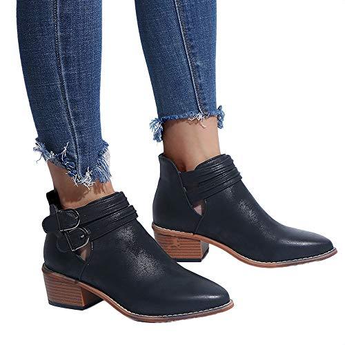 TianWlio Damen Stiefel Stiefeletten Frauen Spitzschuh Pure Farbe Stiefel Schnalle Quadratische Ferse...