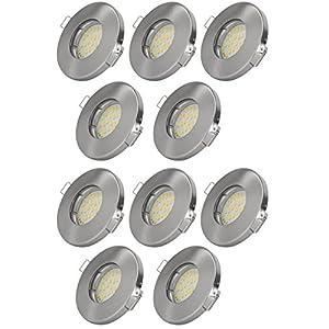 10er Set Einbaustrahler IP65 Optik: Edelstahl Gebürstet Bad | Dusche |  Sauna | Inkl. GU10 5Watt LED Leuchtmittel 3000Kelvin (warm Weiß) 430Lumen  ...