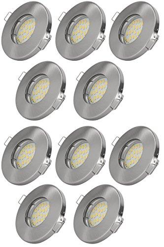 10er Set Einbaustrahler IP65 Optik: Edelstahl gebürstet Bad | Dusche | Sauna | inkl. GU10 5Watt LED...