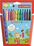 Feutre de coloriage - STABILO Trio Frutti - Étui carton de 12 feutres pointe moyenne (encre parfumée) - Coloris assortis