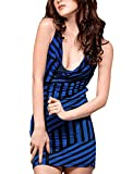 Allegra K Women Sexy Cowl Neck Sleeveless Bare Back Sheathy Striped Dress