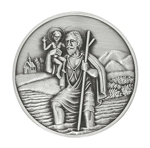 Gesegnete und geweihte Christophorus Plakette 5 cm, 999/1000-feinversilbert