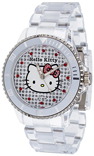 Hello Kitty - HK1464-040 - Nichinan - Montre Fille - Quartz Analogique - Cadran Multicolore - Bracelet Plastique Transparent