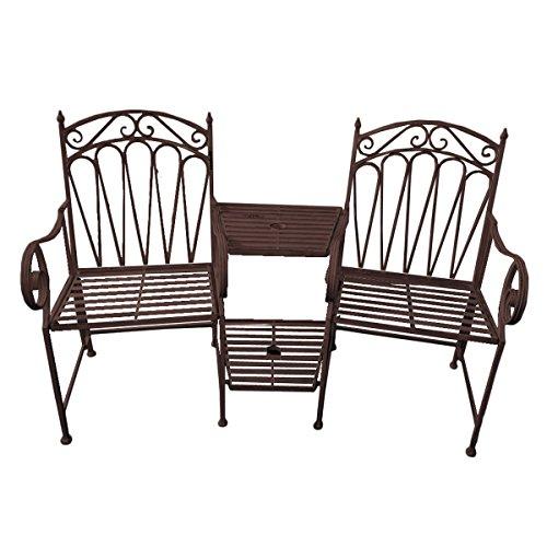 Gravidus gemütliche Doppel-Gartenbank mit Tisch und Ablage